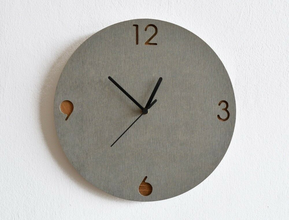 Wanduhr Glas Modern Concrete And Wood Circle Wall Clock - Modern Wall Clock | Ebay
