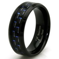 Stainless Steel Blue Carbon Fiber Engravable Wedding Ring ...