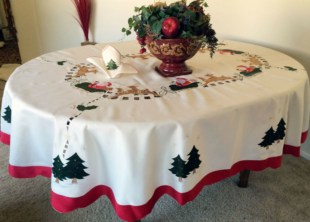Tischdecken Weihnachten Vintage Christmas Embroidered Santa Tablecloth Oval White