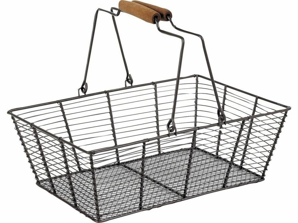 Drahtkorb Garten Wire Metal Basket Grey Rectangular Kitchen Garden Wedding