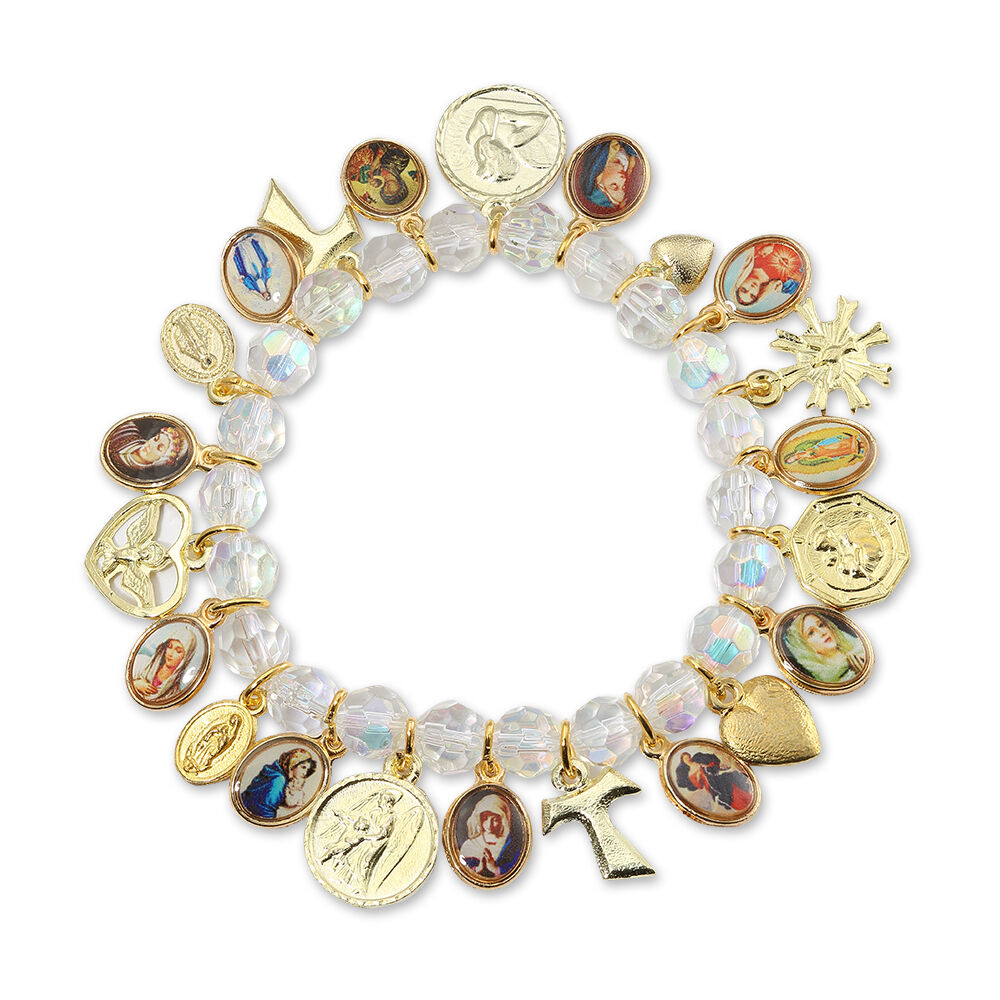 New Catholic Religious Bracelet With Saint Medals And