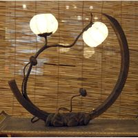 Rice Paper Arc Shade Lantern Light Adjustable Touch Table ...