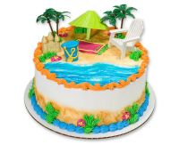 HAWAIIAN LUAU BEACH CHAIR AND UMBRELLA CAKE KIT Topper ...
