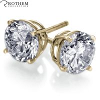 REAL 0.5 half carat Yellow Gold Diamond Stud Earrings ...