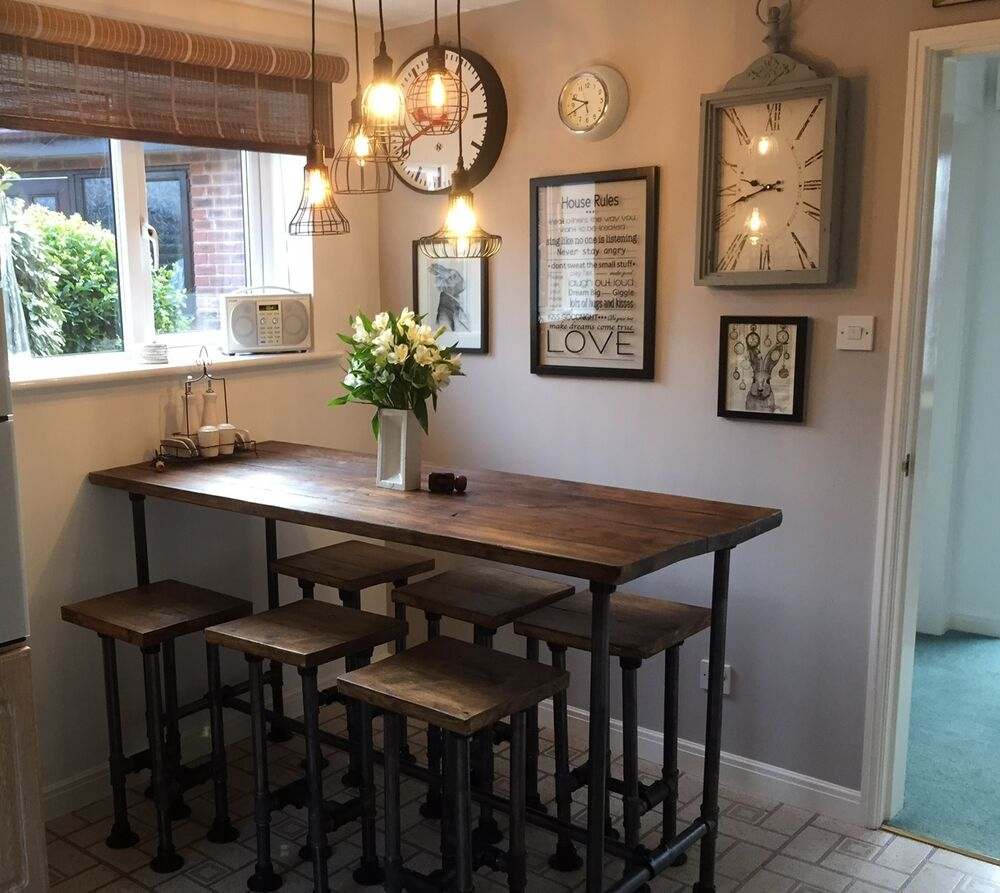 High gas pipe breakfast bar kitchen table reclaimed