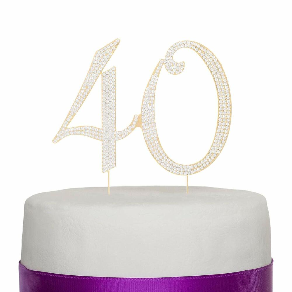 Golden 40 40 Gold Rhinestone Cake Topper 40th Birthday Anniversary