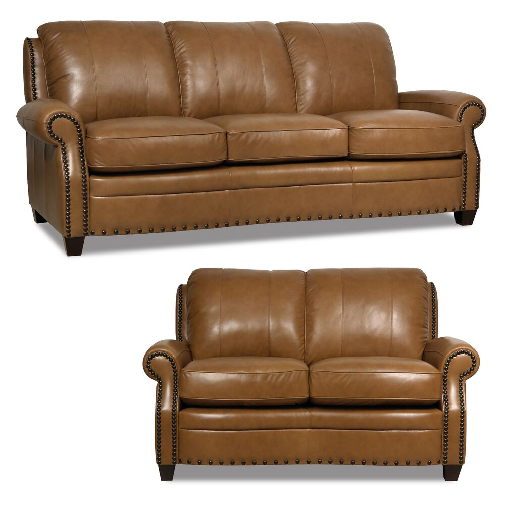 "Ebay Sofas New Luke Leather 2 Piece Sofa Set ""bennett"" Wheat Brown"