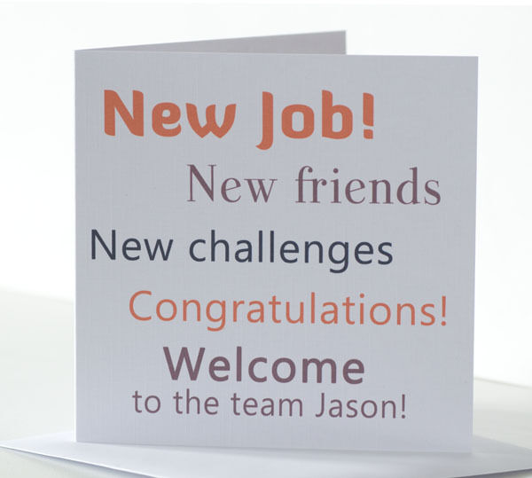 Personalised Welcome to the Team New Job Card Card to welcome a New