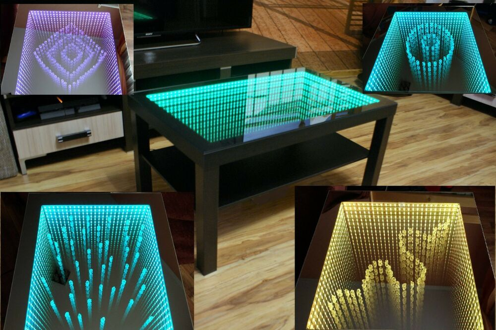 Rgb Led Couchtisch Black Table Led 3d Coffee Table Illuminated Infinity