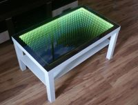 WHITE Table LED 3D Coffee Table Illuminated INFINITY ...