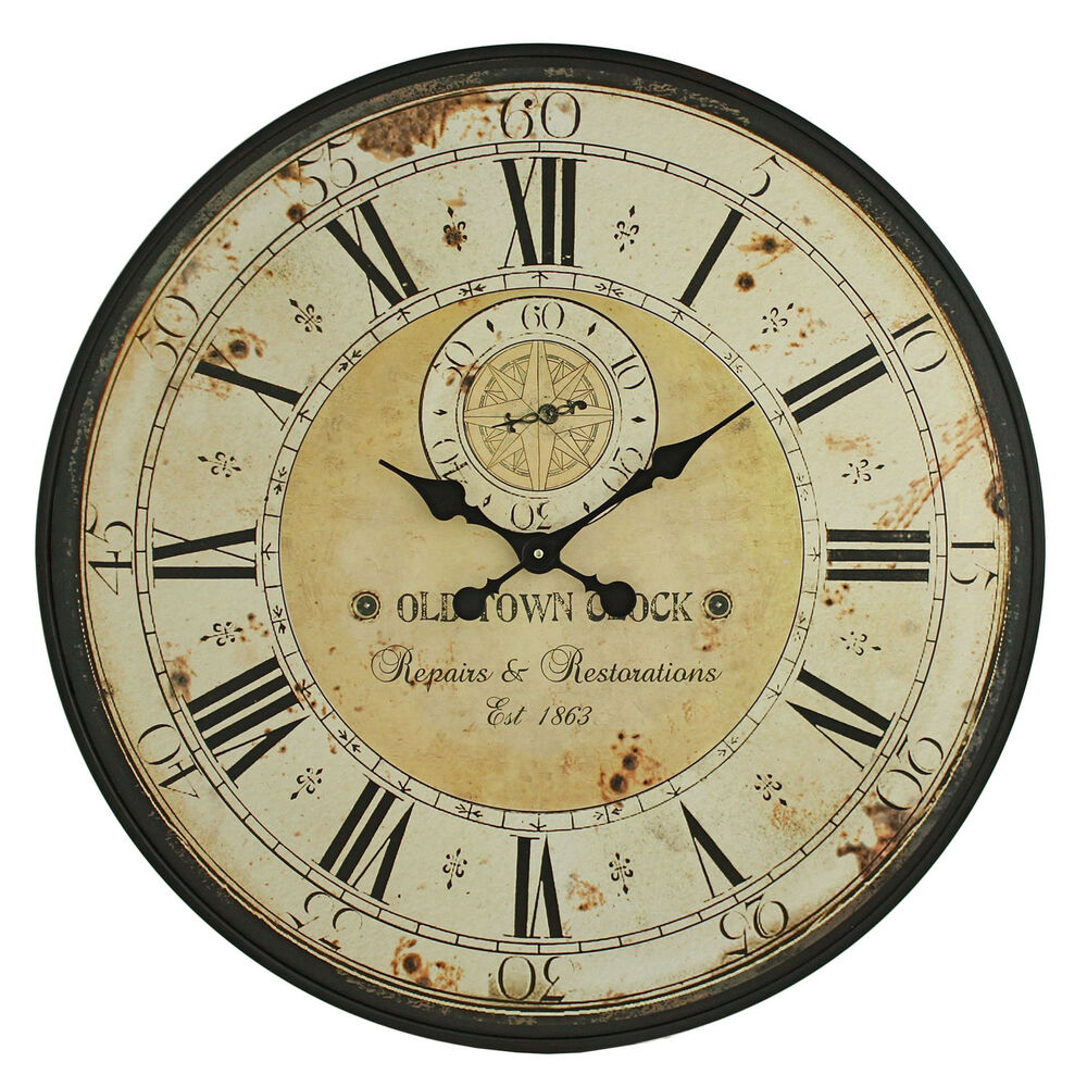 Vintage Wall Clock Rustic Antique Style Large 31.5