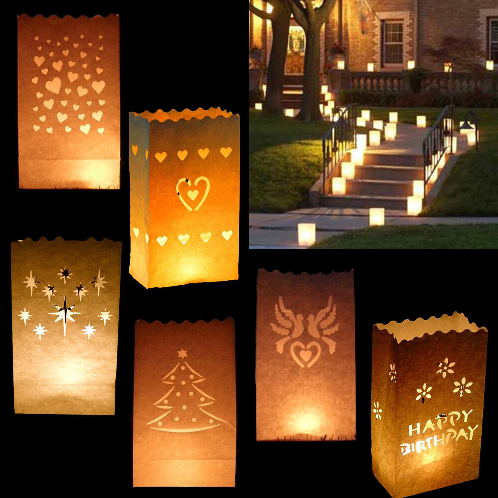 Bougie De Table Paper Candle Bags Luminary Wedding Table Centres Piece Party Venue Decorations Ebay
