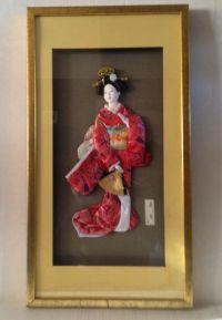 Vintage Asian Japanese Geisha Girl in Framed Shadow Box