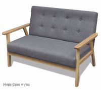 Small Retro Wooden Sofa Grey Padded Lounge Upholstery Seat ...