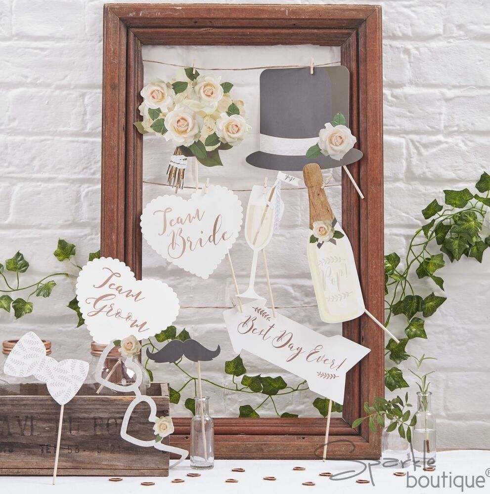 Photobooth Maison Botanical Wedding Photo Booth Props Selfie Kit Team Bride Groom Signs Rose Gold Ebay