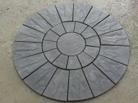 Stone Concrete Circle Patio Paving Set 1.8 Meters Charcoal ...