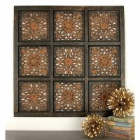 Distressed Rustic Indian Carved Wood Wall Panel Art ...