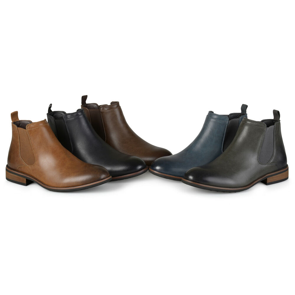 Territory Mens Faux Leather High Top Chelsea Dress Boots