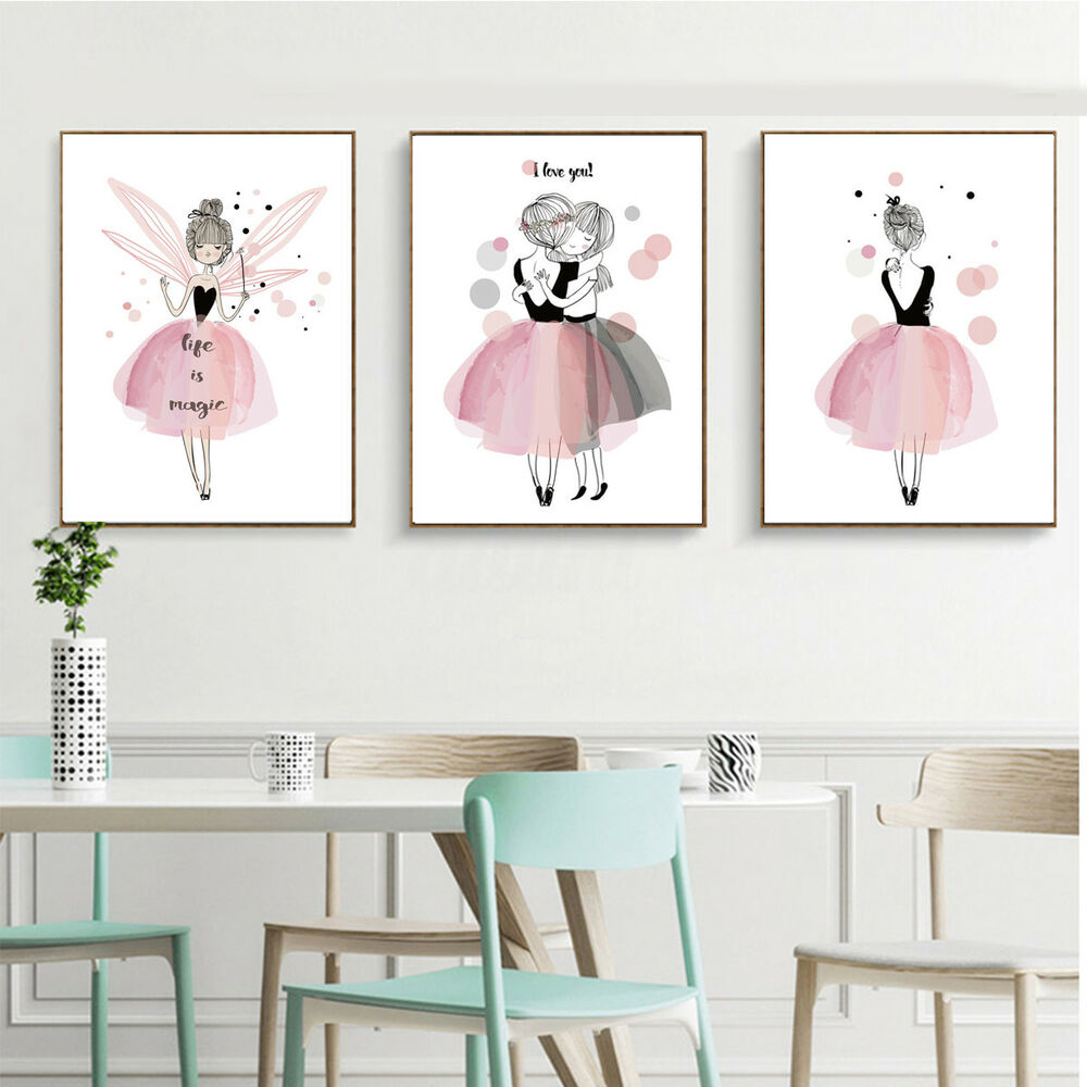 Poster Chambre Adulte Kawaii Girl Nordic Style Cartoon Canvas Poster Wall Art