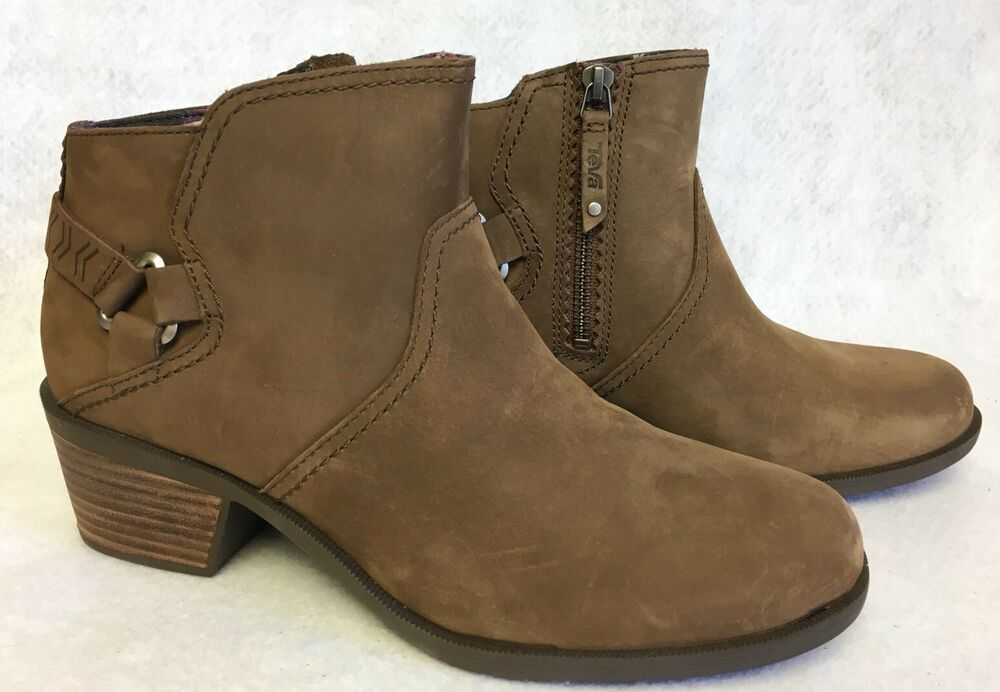 Teva Foxy Bison Brown Leather Ankle Women39s Stacked Heel