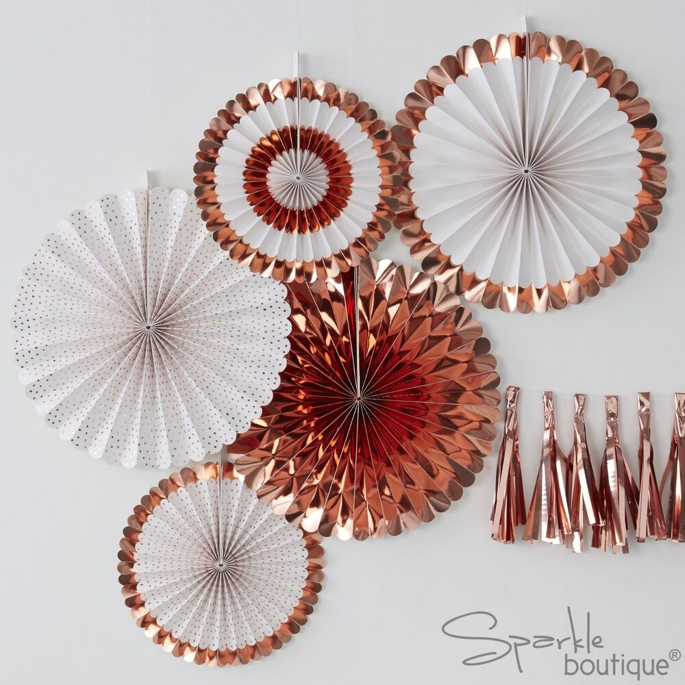 Magasin Ventilateur Metallic Rose Gold White Fan Decorations X 5 Hen Do Party Range In Shop 696583694202 Ebay