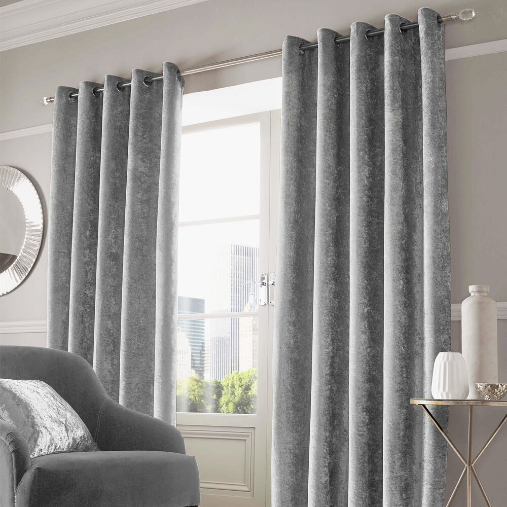 Grey Thermal Curtains Sienna Crushed Velvet Pair Of Fully Lined Anneau Top Eyelet Curtains Silver Grey Ebay