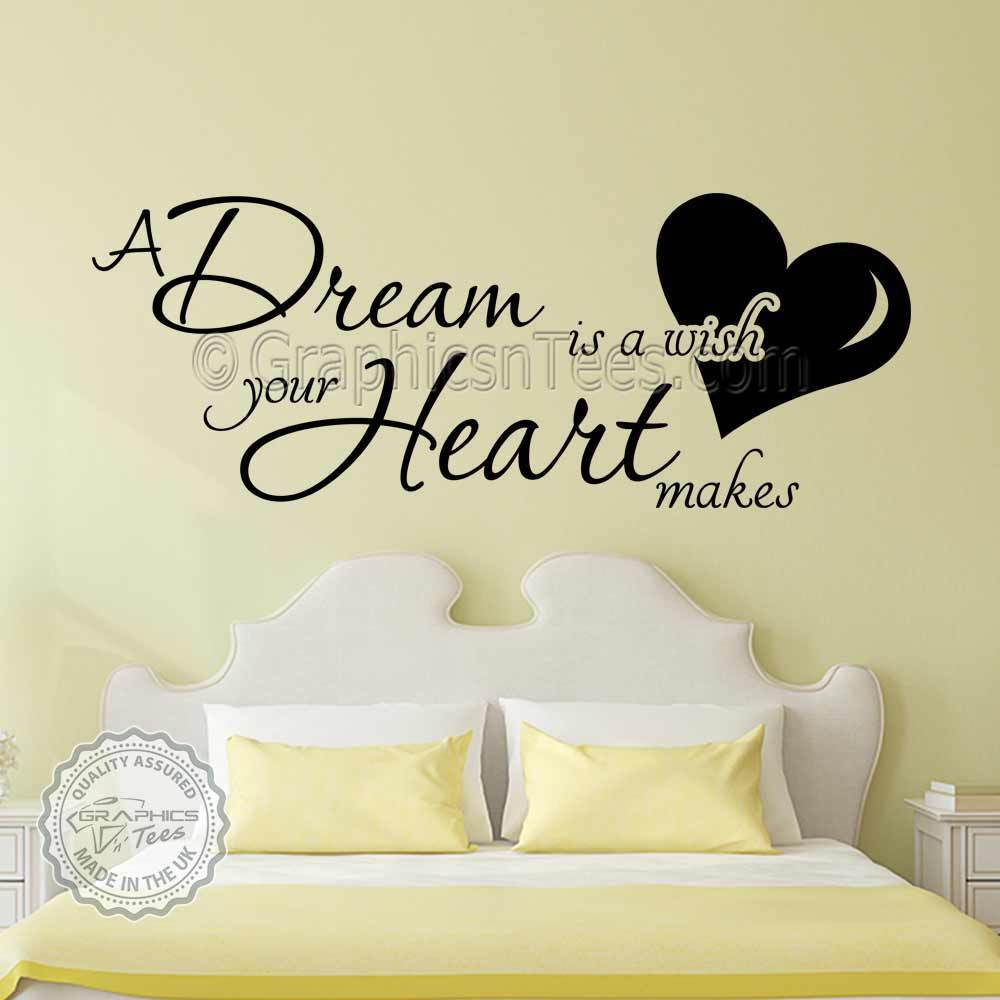 Stickers Phrase Chambre A Dream Is A Wish Your Heart Makes Bedroom Wall Sticker Quote Vinyl Art Decal Ebay