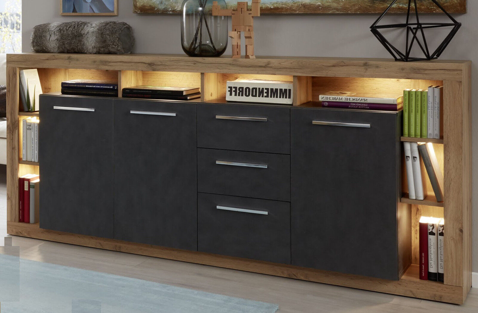 Esszimmer Sideboard Weiß Led Xpress Kommode Weiß Esche Grau Wohnzimmer Sideboard Esszimmer Anrichte