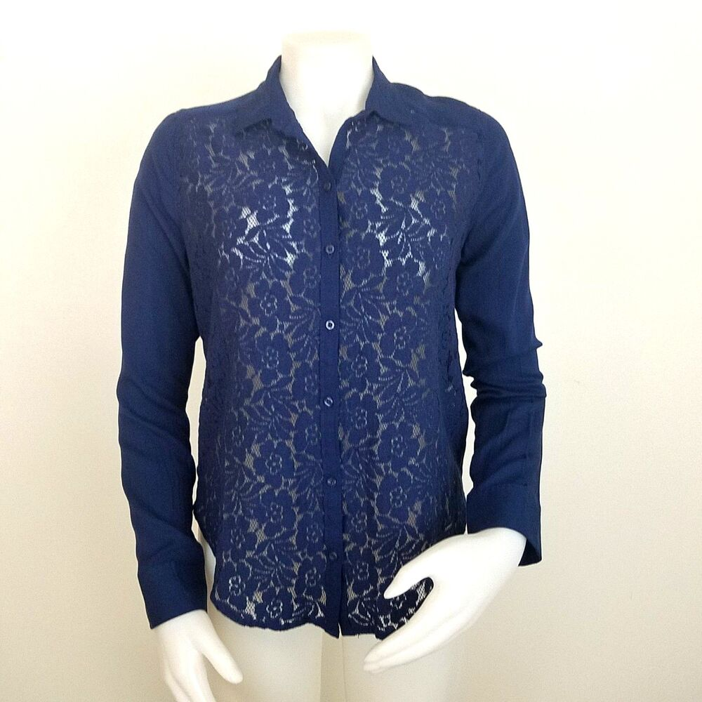 Xs Long Hollister Women S Navy Blue Lace Front Blouse Size Xs Long Sleeve New With Tags Ebay