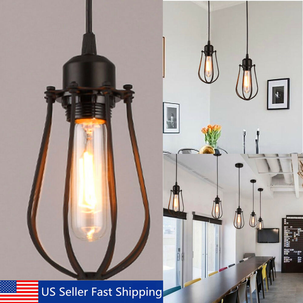 Ceiling Pendant Lights Vintage Light Retro Industrial Iron Shade Cage Ceiling Pendant Lamps Edison Ebay