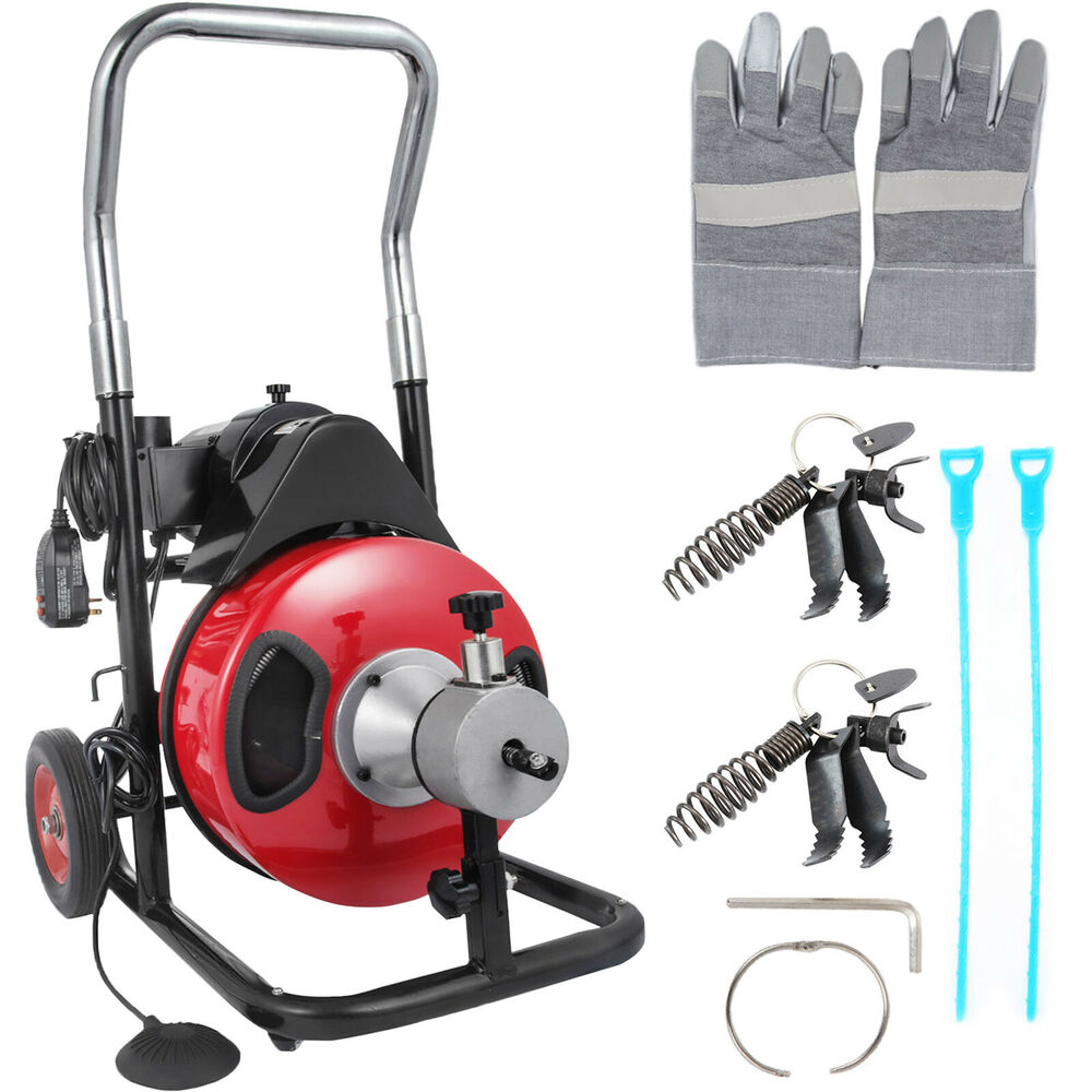 Sewage Cleaner 50ft 1 2 Drain Auger Pipe Cleaner Machine Commercial Local Electric Sewage New Ebay