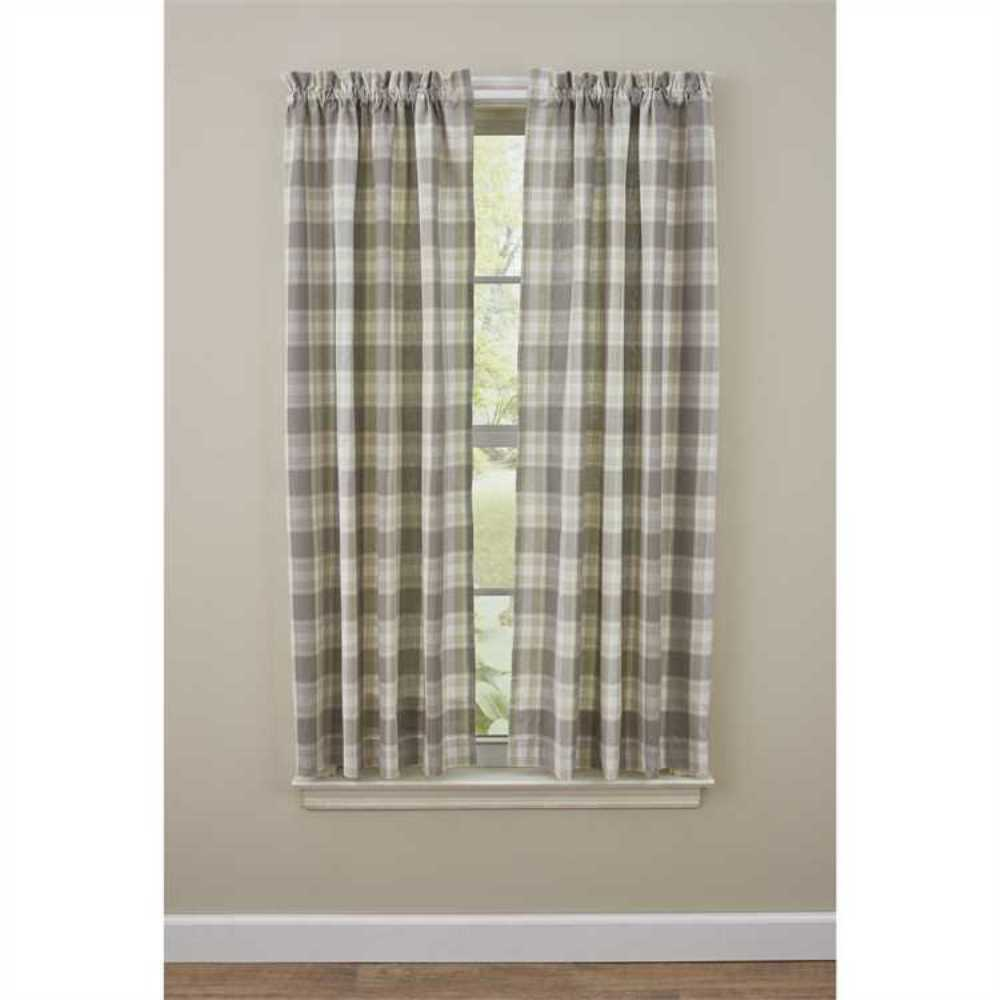 Plaid Taupe Weathered Oak Panel Curtains 72wx63l Taupe Tan Ivory Plaid Country Farmhouse Ebay