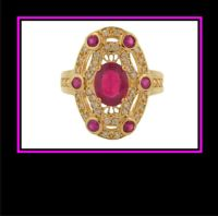 Ladies 14K Yellow Gold Synthetic Ruby and Diamond Dinner ...