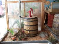 Old Whiskey Barrel Rain Barrel c/ Red Pitcher Pump | eBay