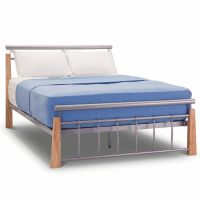 Contemporary Beech & Silver Metal Bed Frame