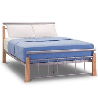 Contemporary Beech & Silver Metal Bed Frame - 4ft6 Double ...