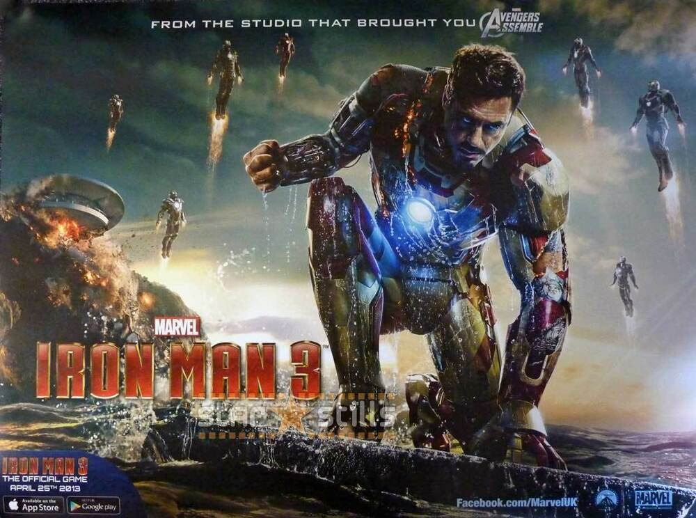 Poster 30x40 Iron Man 3 Original Double Sided Movie Film Poster 30x40