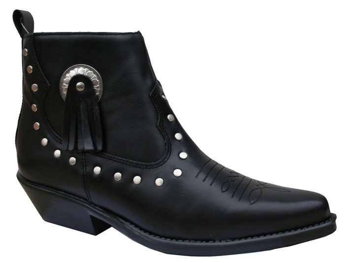 Ladies Black Leather Line Dancing Ankle Boots Shoes
