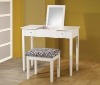 CONTEMPORARY WHITE VANITY WITH FLIP TOP MIRROR DRESSING ...