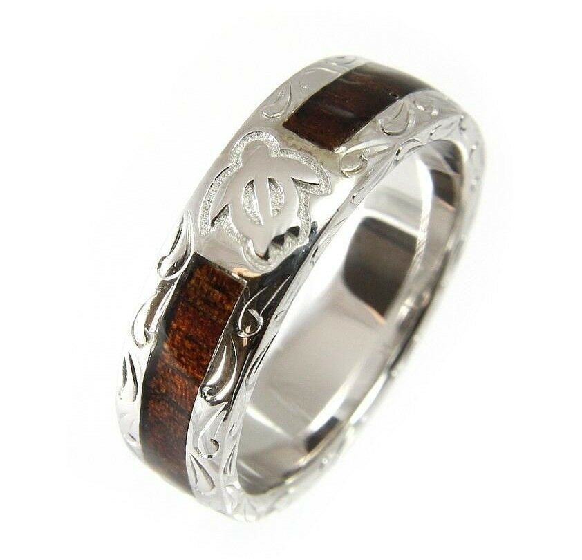 Genuine Hawaiian Koa Wood Eternity Wedding Band Ring Honu