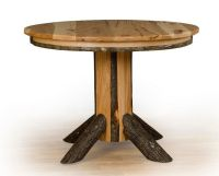 *HICKORY & OAK*Rustic Single Pedestal Round Dining Table ...
