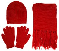 Women Men Knitted Winter Set - Beanie, Gloves and Scarf ...