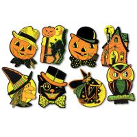 8 Retro HALLOWEEN Decorations Die Cut Cutouts Vintage