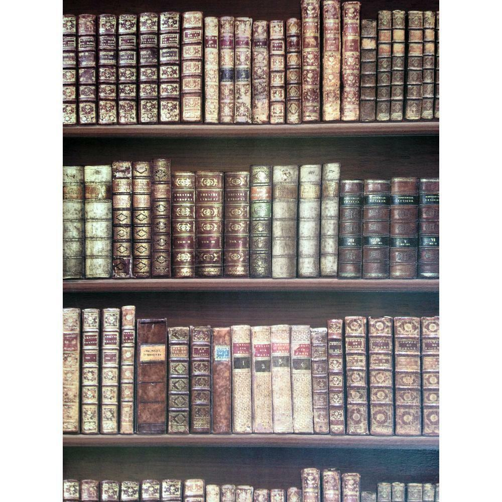 New Direct Bookcase Classic Leather Books Library Mural