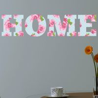HOME Shabby Chic Floral Full Colour Wall Sticker Decal ...