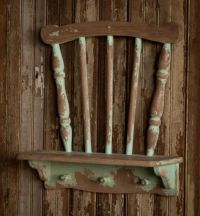 Vintage Style Repurposed Chair Wall Shelf~Chippy Green