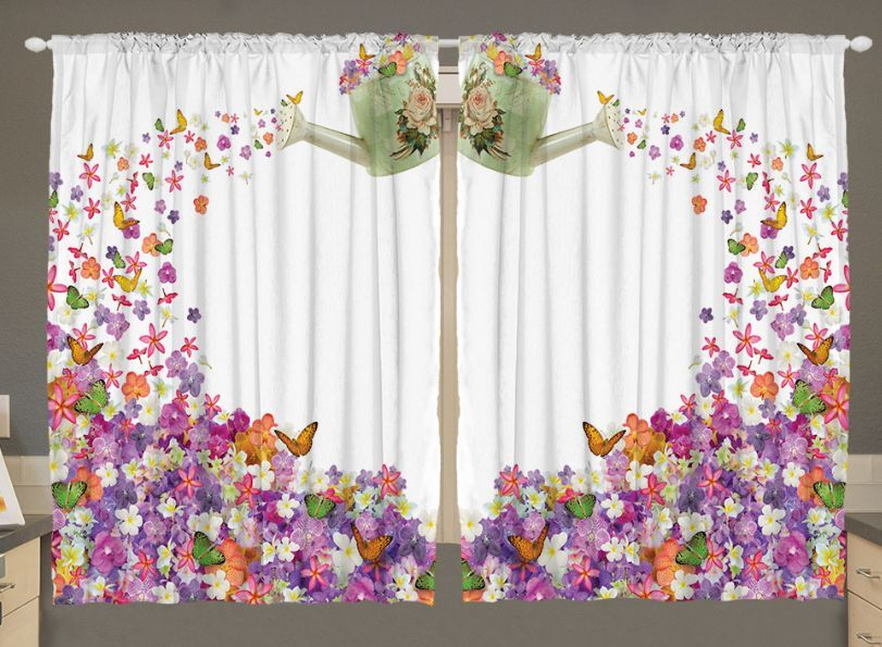 Vorhang Blumen Flowers Kitchen Curtain Panel Set Butterflies Watering Can