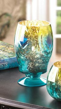 teal blue PEACOCK mercury glass tall pedestal Candle ...
