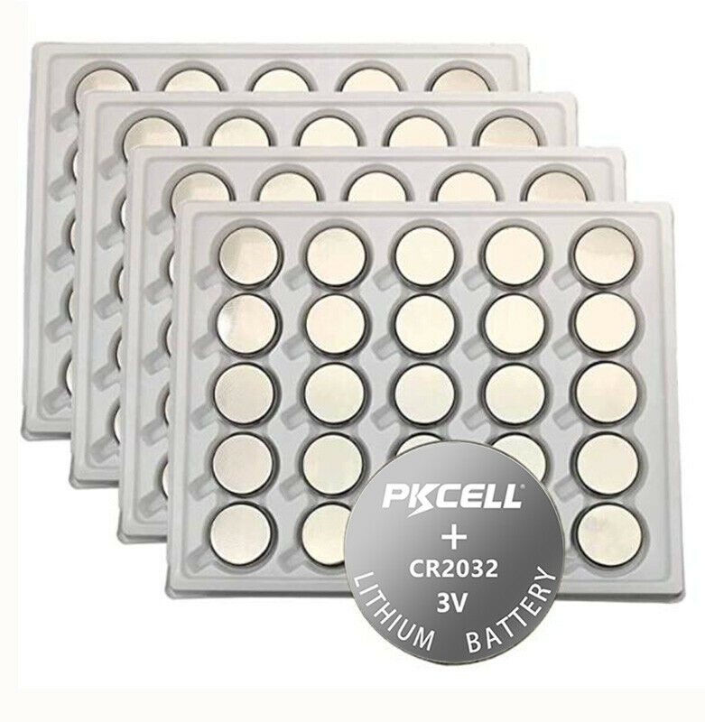 Cr2032 Battery 100x Pkcell Cr2032 Battery 3v Lithium Button Coin Bios Cell For Fairy Lights Ebay