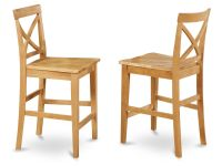 Set of 2 bar stools kitchen counter height chairs w/ wood ...